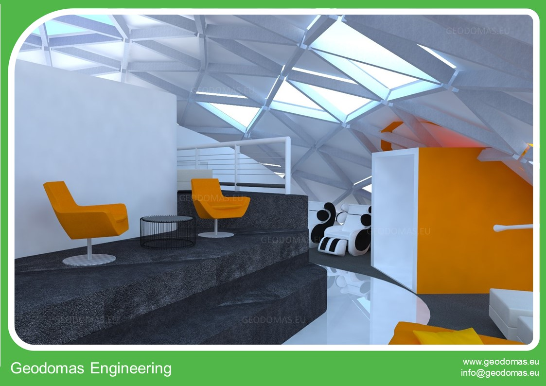 Office Complex 3000m2 A+ Geodesic Domes For 200 Job Places