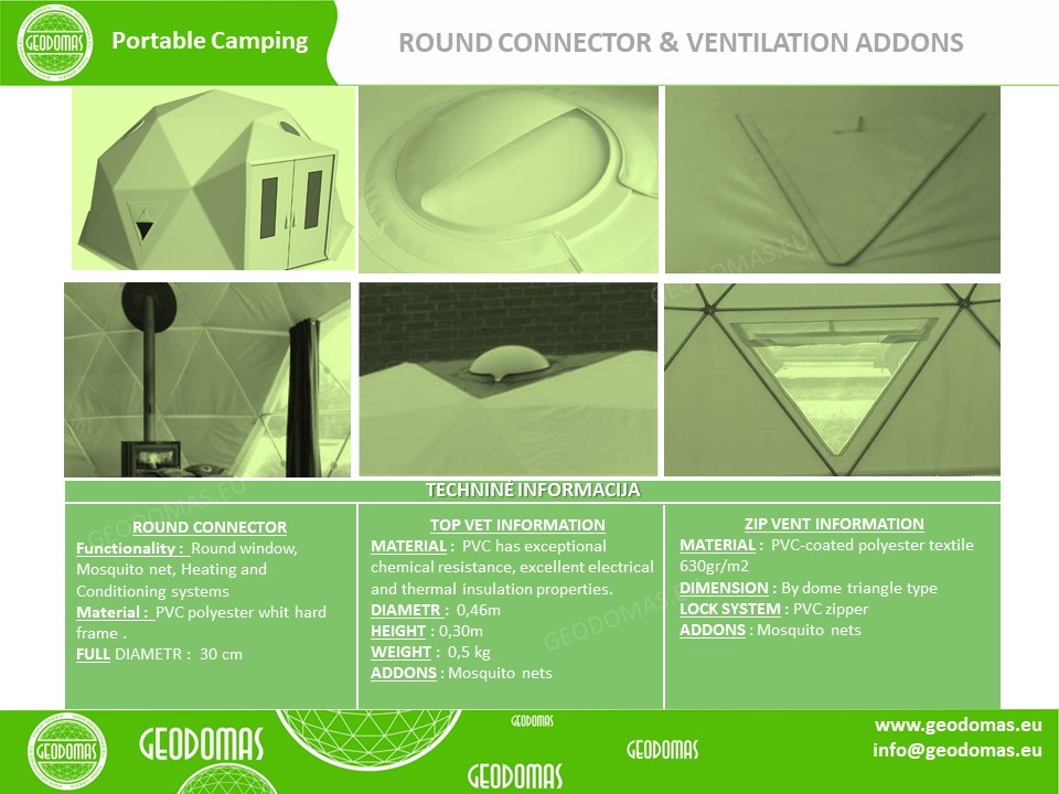 28m² Glamping Dome Ø6m F2 Height 3m | Sketches